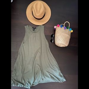 Olive Flowy Tank top Dress